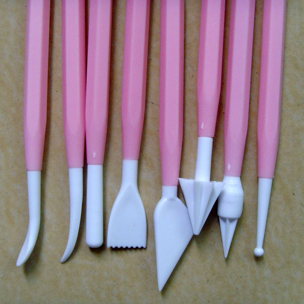 JG0146P Plastic Pink 8pcs cake decorating modeling tools set