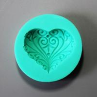 HB0851 Flower heart shaped silicone mold for cake fondant decoration
