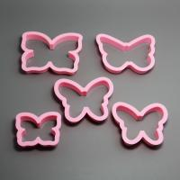 HB0207 Plastic 5pcs Pink Butterfly shape cookie cutters set fondant mold