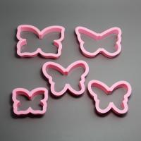 HB0207 Plastic 5pcs Pink Butterfly shape cookie cutters set fondant mold