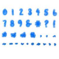 HB0215E Plastic 10pcs Numbers and 21pcs symbols cookie stamps set
