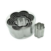 HB0296 8pcs flower shape cutters with plain edge cookie cutter