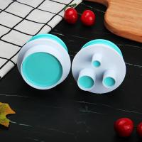 HB0310J 2pcs Plastic Round Shape Cutout Cookie Stamps/Molds set