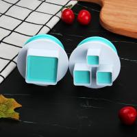 HB0310K 2pcs Plastic Square Shape Cutout Cookie Stamps/Molds set