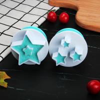 HB0310L 2pcs Plastic Star Shape Cutout Cookie Stamps/Molds set