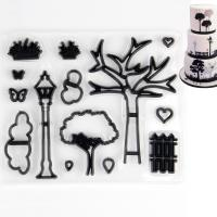 HB0311-6 Plastic Grass/Tree/Fence shapes cookie embosser mold set
