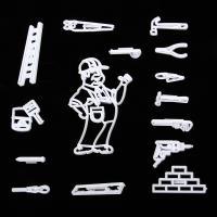 HB0311O Plastic Worker&Tools Series Shape Fondant Press Molds Set