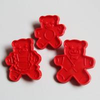 HB0374 plastic 3pcs mini bear shape cutter set fondant embosser cake decoration mold