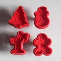 HB0384 Plastic 4pcs Christmas Fondant Plunger Cutter Set cookie cutters fondant mold for cake decoration