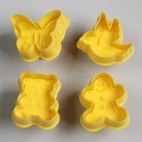 HB0396 Plastic 4pcs Yellow Human&Animals shape plunger cutter set