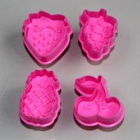 HB0397 Plastic 4pcs pink fruit shape cutter set cookie cutters chocolate mold