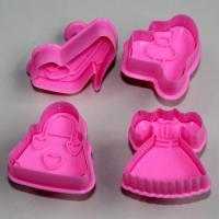 HB0398 Plastic 4pcs Pink dress&shoes theme cake fondant mold set