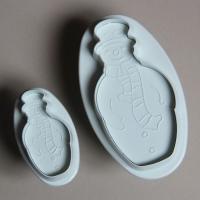 HB0465 Plastic 2pcs Snowman Plunger Cake Fondant Mold set