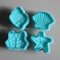 HB0502 Plastic 4pcs Sea Animal Plunger Cake Fondant Mold set
