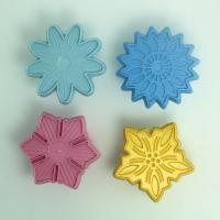 HB0570C  4pcs Different  Clourful Flowers Shape Press Mold plunger cutter cakedecoration mold