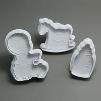 HB0645 3pcs Plastic Baby Shower Plunger Cutter Set
