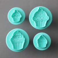HB0693 Plastic 4pcs multi-shaped cupcakes cake decoration fondant molds set
