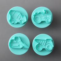 HB0695 4pcs 3D car shaped biscuit cutter mould set plunger cookie cutter