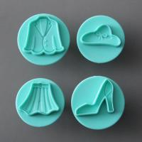 HB0696 pcs(hat,shoe,jacket,shirt)plastic cake fondant molds set