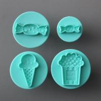HB0697 Plastic 4pcs Sweet Ice Cream Candy shaped Halloween fondant Plunger Cutter set