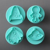 HB0698 Plastic 4pcs spaceship,U.F.O, rocket& astronaut shapes fondant cutter/mold set