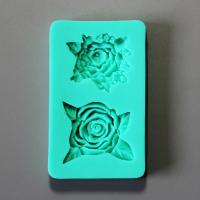 HB0871 New Pretty Two Rose flower silicone cake fondant mold
