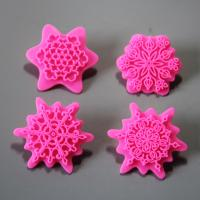 HB0953 4pcs plastic flower fondant embosser decoration mold set