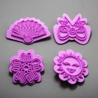 HB0971 plastic smile,bowtie,flower,fan cake stamp for cake decoration