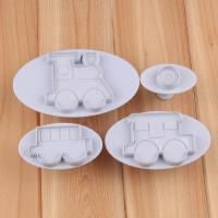 HB1041  4pcs Train cookie plunger cutter set