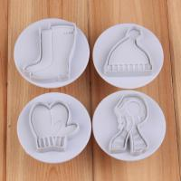 HB1050   4pcs Gloves, hats, scarves,shoes cookie plunger cutters set