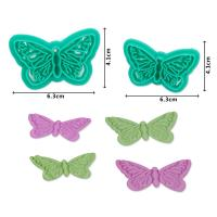 2017 New Plastic 2pcs Butterfly Shape Cake Fondant Press Mold set(Style A)