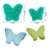 2017 New Plastic 2pcs Butterfly Shape Cake Fondant Press Mold set(Style C)