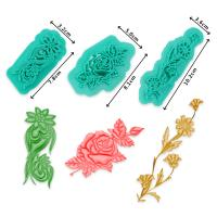 HB1094J Plastic 3pcs Flowers Shapes Cake Fondant Press Mold set(Style J)