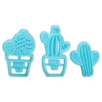 HB1094M Plastic 3pcs Cactus Shapes Cake Fondant Press Mold set