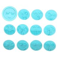 HB1094N Plastic 12pcs Emoticon Theme Shapes Cake Fondant Press Mold set