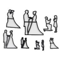 HB1099 Plastic 9pcs Wedding Theme Fondant Stamps Molds set