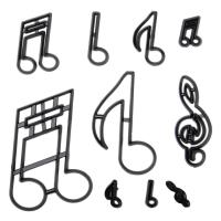 HB1099G Plastic 10pcs Music Notes Theme Shape Cake Fondant Press Cookie Cutters Decoration Molds set