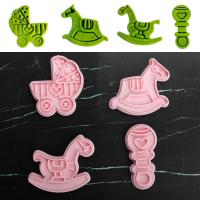 HB1101Y Plastic Baby Car Trojan Horse Series Shapes Cake Fondant Press Molds set